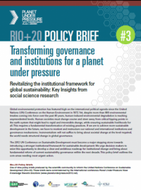 Transforming governance and institutions for a planet under pressure. Revitalizing the institutional framework for global sustainability: Key Insights from social science research